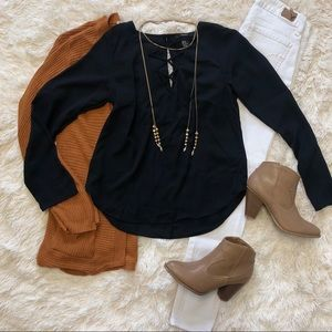 Black lace up long sleeve blouse